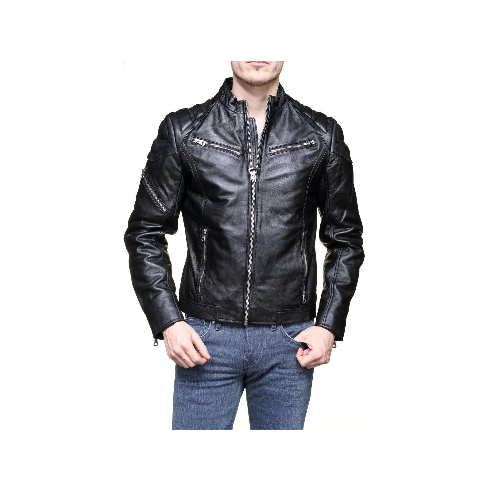 Veste cuir homme de marque pas chère - Habiz f75d4bb343f